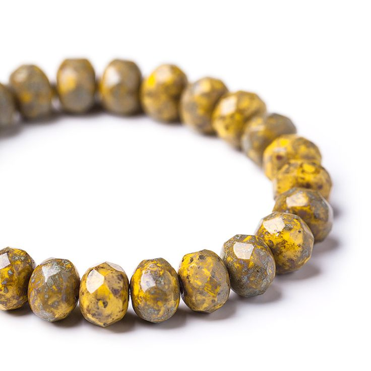 Opaque yellow fire polished glass spacer picasso beads, 6х9 mm