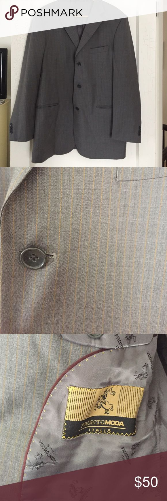 MENS | Pronto Moda Grey and Brown Pinstripe Suit Merino Wool, this gorgeous pinstripe suit is in good condition. Minor marks, easily dry cleaned out. Blazer is a 44L and pants are a 36/34. Pronto Moda Suits & Blazers Suits