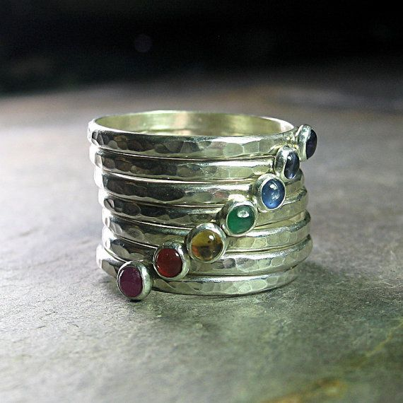 7 Chakras Stacking Rings - hammered sterling silver set of 7 with:  ruby, carnelian, citrine, emerald, sapphire, iolite and amethyst.  3mm size natural stones.  ....from LavenderCottage on Etsy | See more about Stacking Rings, Chakras and Sapphire.