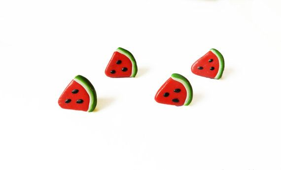 Watermelon Push Pins  Drawing Pins  Polymer Clay by NiftyGiftyShop, $7.00