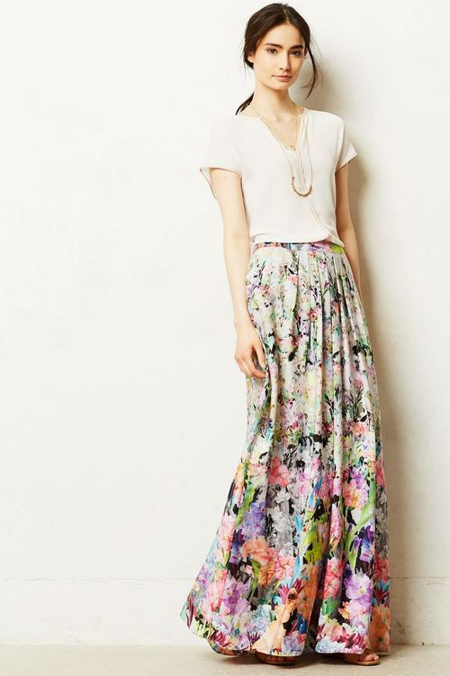 Floral skirts, nude colored shirts, maxi dress, mini dress