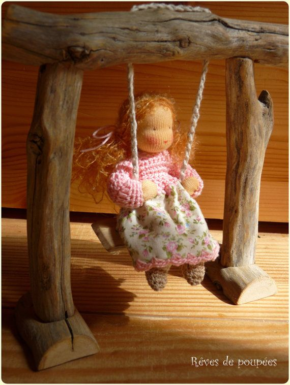 Waldorf play set. Small doll with a swing by Revesdepoupees of France.