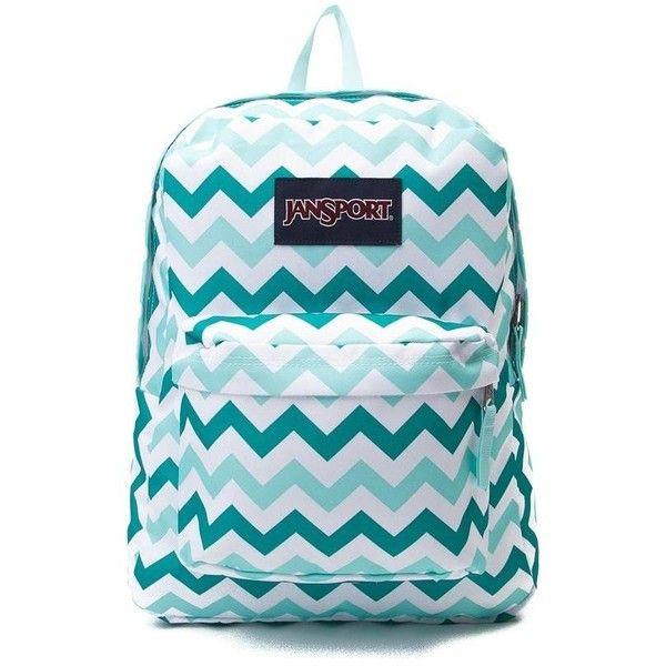 JanSport Superbreak Chevron Backpack ❤ liked on Polyvore featuring bags, backpacks, chevron backpack, blue bag, utility bag, jansport rucksack and padded backpack