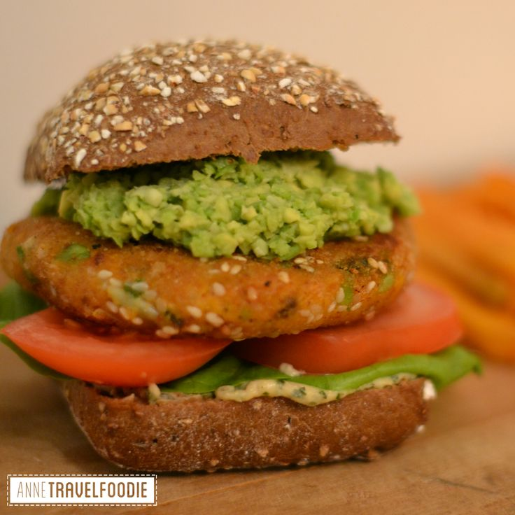 Sweet potato burger. I love healthy burgers! This sweet potato burger is vegan, gluten free, colorful and delicious! These sweet potato burgers are perfect for Friday night, when you feel like eating unhealthy. With these burgers you'll still be eating comfort food, but then with foods that are good for you! you can find the recipe on my website