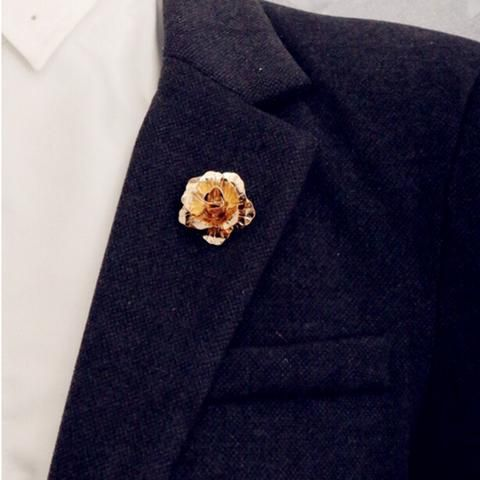 Rose Gold color Rose Flower Brooch Men suit collar Accessories