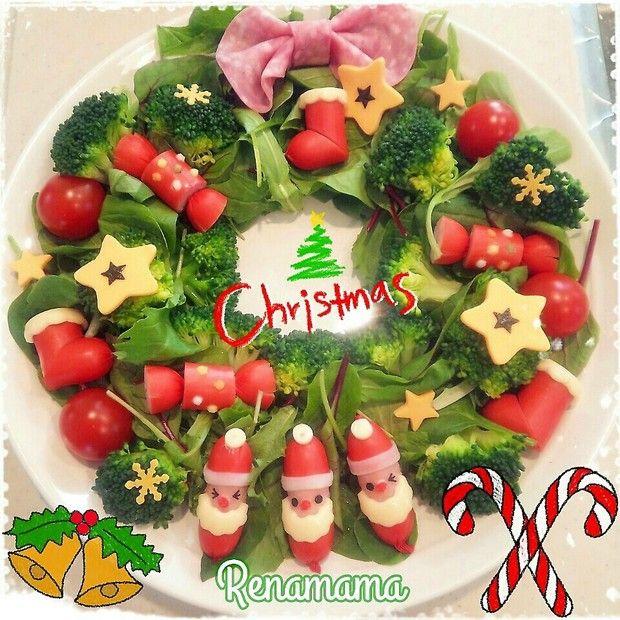 クリスマス☆リースサラダ★赤ウインナーのサンタさん♡