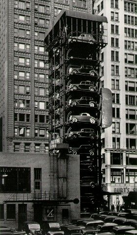 Elevator Garage with Parking Lot, Chicago 1936 / John Guttman