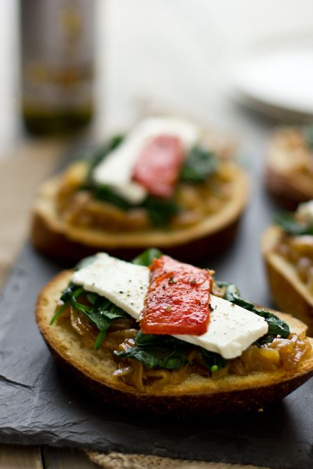 Spinach, Caramelized Onion and Roasted Pepper Open-Faced Sandwiches from Vegetable Literacy