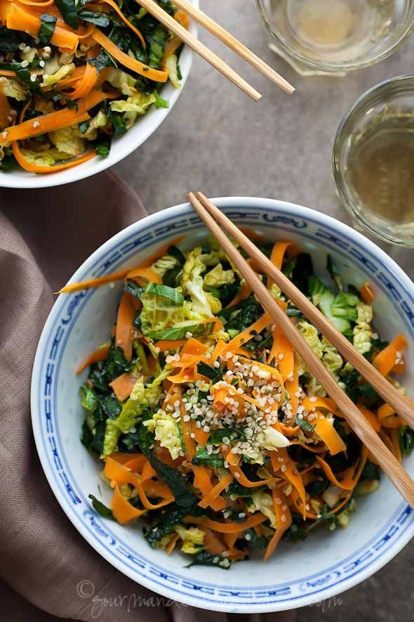 Kale Cabbage and Carrot Chopped Salad from Gourmande in the Kitchen Raw Kale, Cabbage and Carrot Chopped Salad with Maple Sesame Vinaigrette