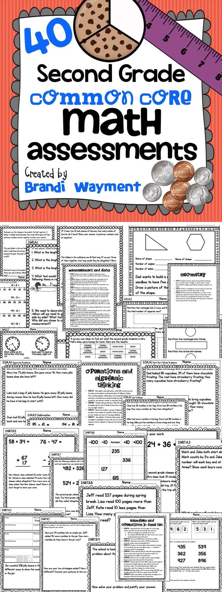 40 Second Grade Common Core Math Assessments