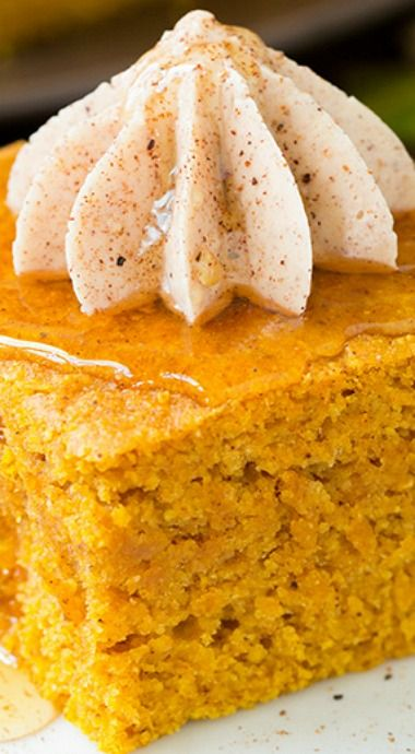 Pumpkin Cornbread with Cinnamon Honey Butter