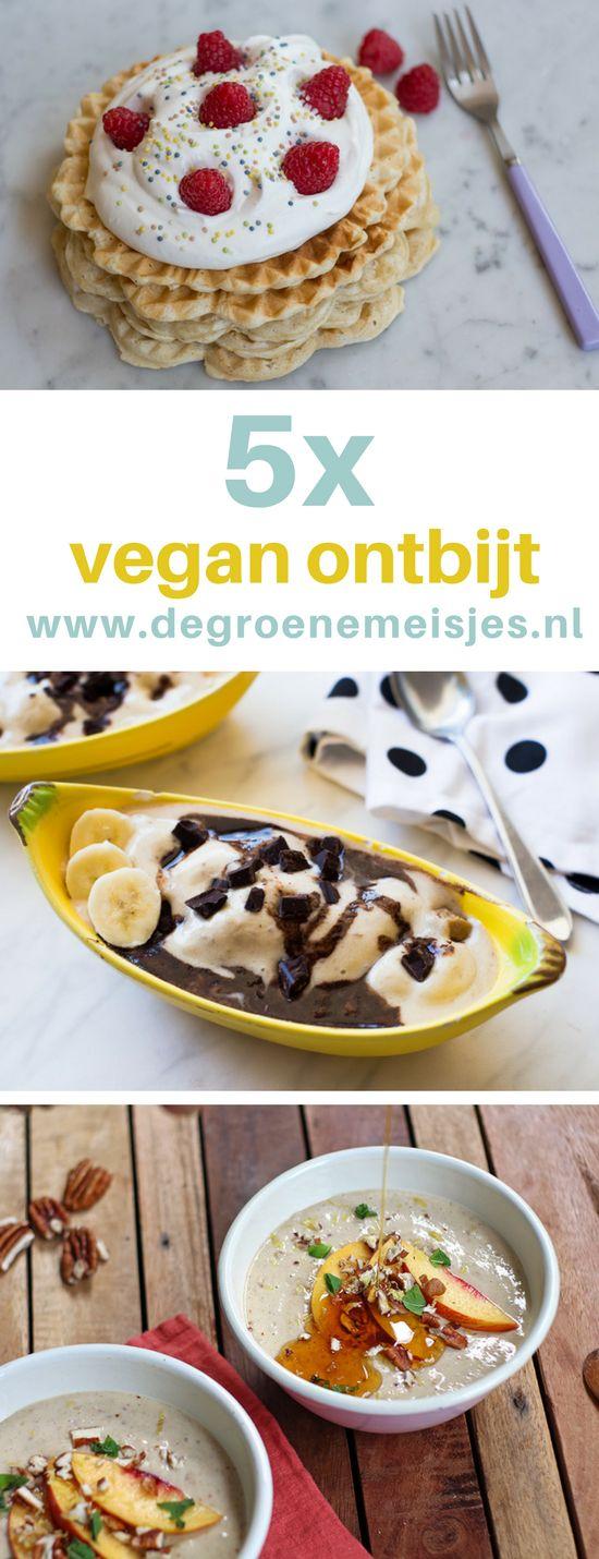 vegan weekmenu met 5 ontbijt opties zoals bananenijs met koekjesdeeg, bananenpannenkoeken, Boekweitpap met nectarine, Ontbijtbowl met groenten, vegan wafels