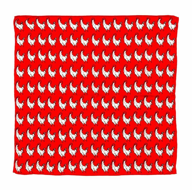 The Prestigious Red Rooster Pocket Square by KINLOCH! #kinloch #pitti #fabioattanasio #thebespokedudes #gentleman #menswear #style #moda #menswear #pocketsquare #rooster #elegance #eleganza #handkerchief #red #pitti