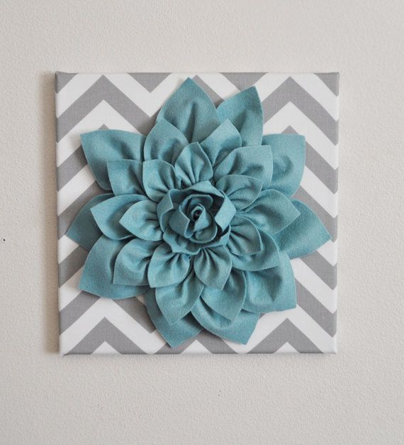 Need for my bedroom! Wall Flower Dusty Blue Dahlia on Gray and White by bedbuggs, $34.00