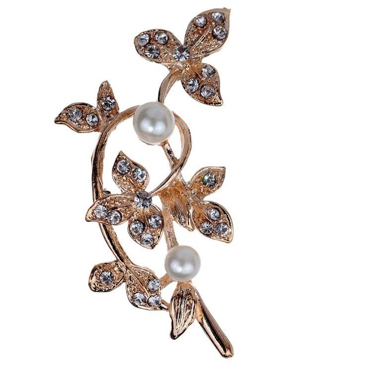 Мода благородный позолоченные искусственный жемчуг мода леди брошь с кристаллами брошь ювелирные изделия подарок на свадьбу