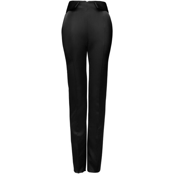 Maticevski Conquest Cigarette Pant (€1.185) ❤ liked on Polyvore featuring pants, black, fold pants, highwaist pants, cigarette trousers, foldover pants and high-waist trousers
