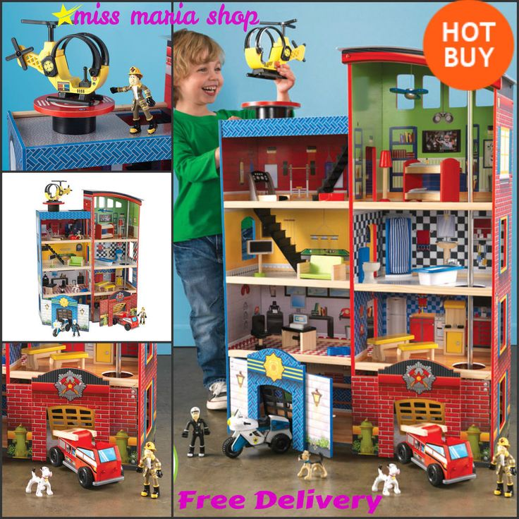 Wooden Toys Playset Boys Playhouse Heroes Kids Toddler Sounds Role Play Hometown