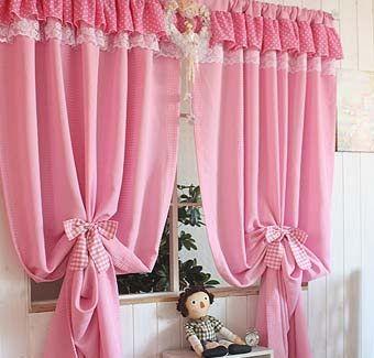 простые розовые шторы для кухни ситец