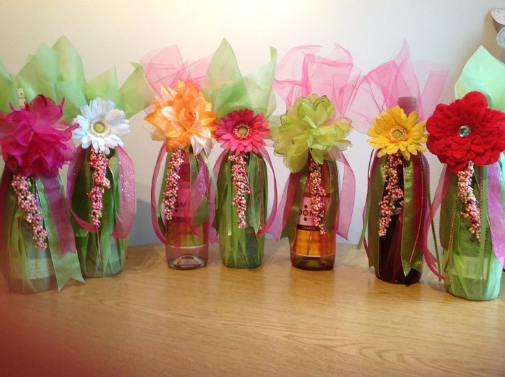 Decorative Wrapped Wine Bottles For Wedding Shower, Using Color Theme.