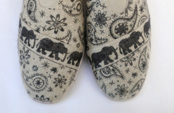 OUT OF INDIA - Hand Decorated Tom's Style Shoes. $65.00, via Etsy.