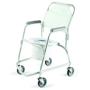 Invacare© Mobile Shower Chair - Sku INV6358_CS2 by Invacare©. $359.79. Case of 2 Designed for easy, safe transport to and from the toilet and shower. The back is covered with a flexible, nylon fabric. 1 anodized aluminum frame wont rust or corrode. Fixed toilet seat is 21H and the arms are spaced 18 apart. Four 5 swivel casters, two with rear wheel safety locks. Remove pail and the chair can be positioned over most toilets. Includes pail and toilet seat. Over...