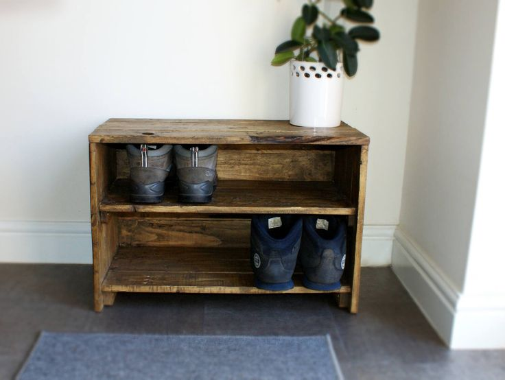 Reclaimed Wood Shoe Rack / Storage by SaffaDesigns on Etsy https://www.etsy.com/listing/517937327/reclaimed-wood-shoe-rack-storage