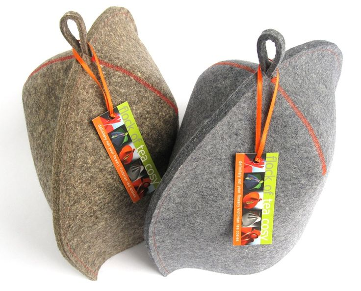 Pair of modern industrial wool felt tea cozies at flockofteacosy.com.  Designer. Architectural. Modernist. Minimalist. Tea cosies. Tea cosy. Teaware.