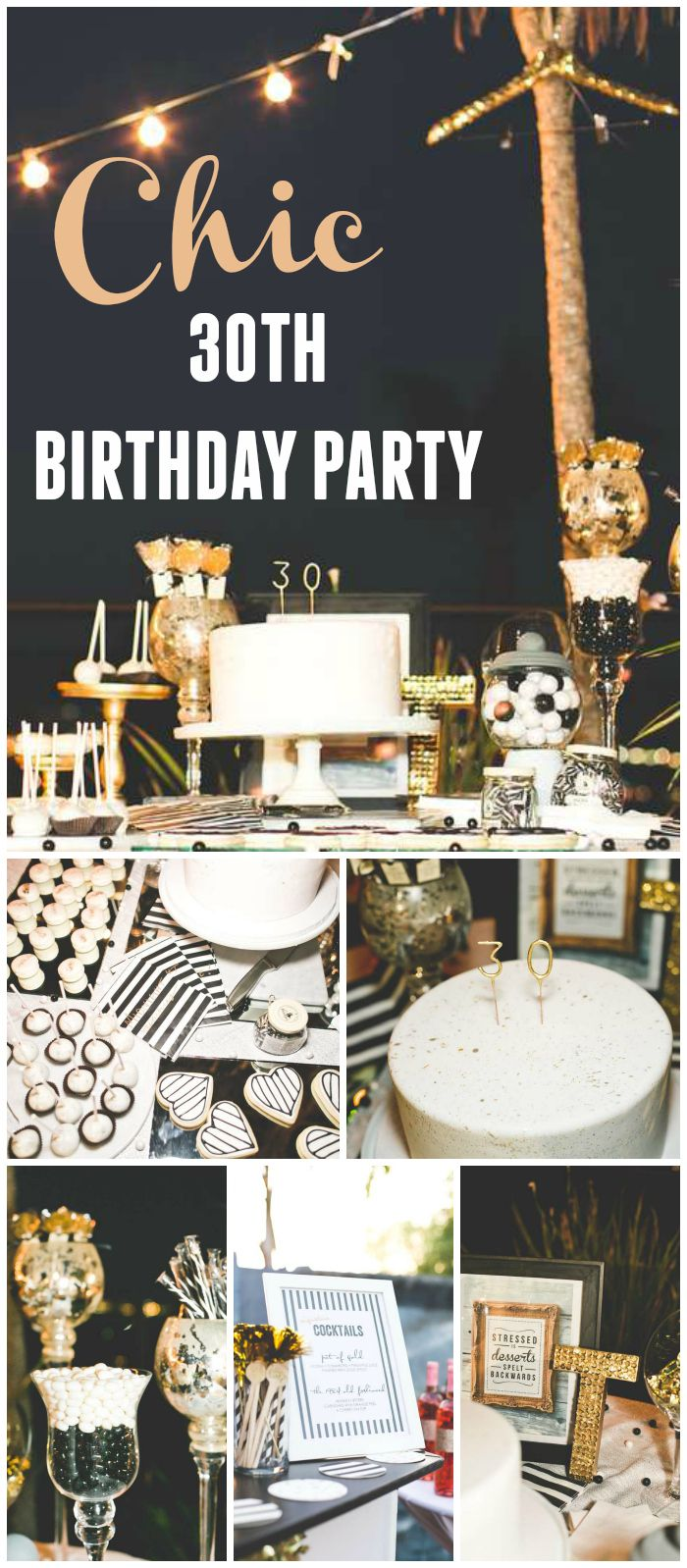 Stripes Glitter Birthday Chic Black White Gold 30th Birthday
