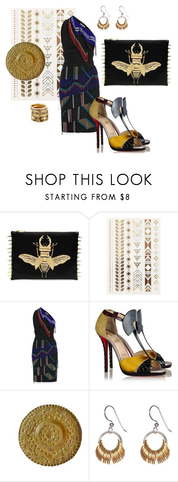 """Aztec"" by valeria-meira ❤ liked on Polyvore featuring Topshop, Preen, Christian Louboutin, Alice Menter, House of Harlow 1960, tribal_jewelry and fringed_dress"
