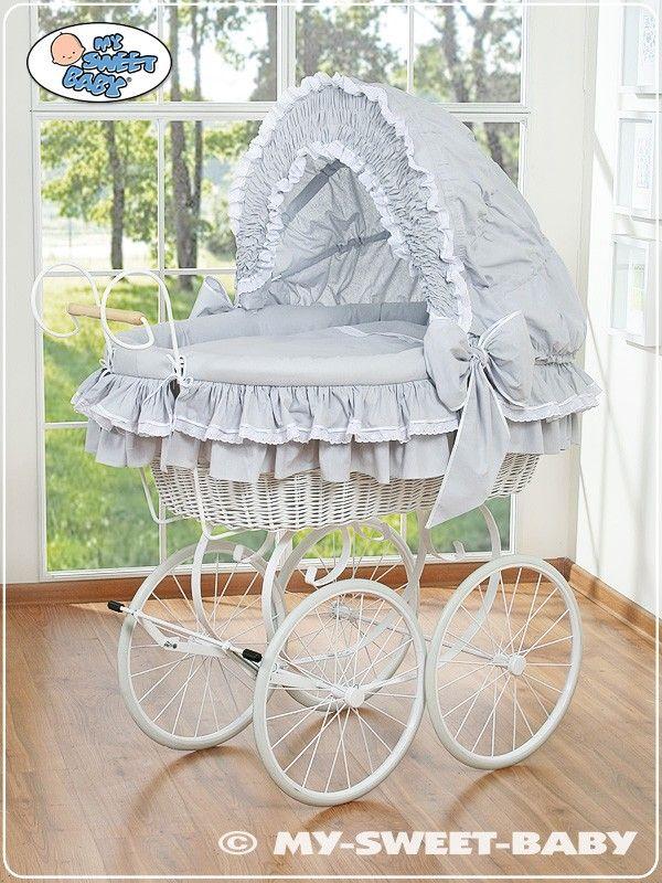 Wicker Crib Retro Vintage Moses Basket bassinet in Grey-White  #babyshoppingmarket #wicker #crib #retro #vintage