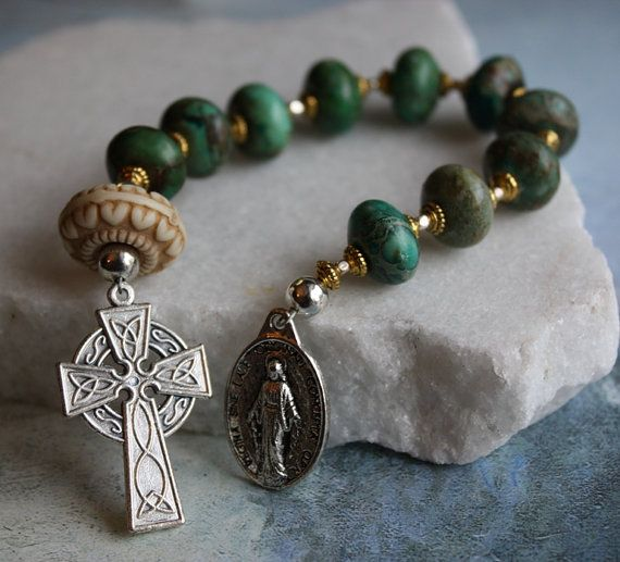 Rosary Chaplet in Emerald Valley Turquoise by BlueMantleCreations, $37.00