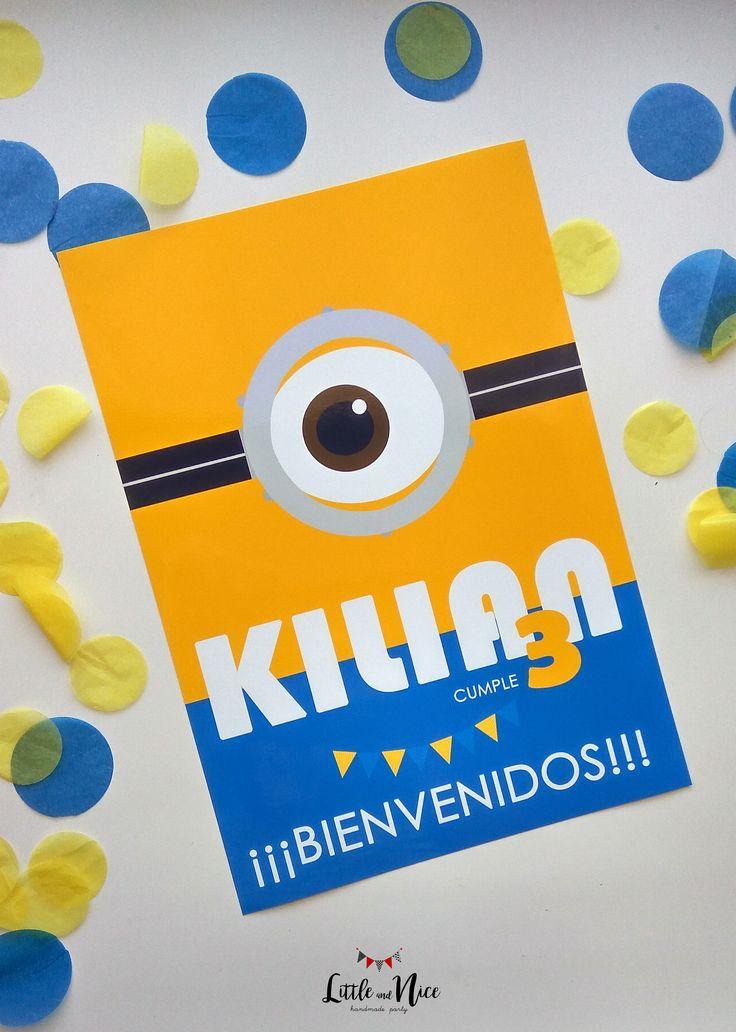 Cartel Bienvenidos para fiesta Minions