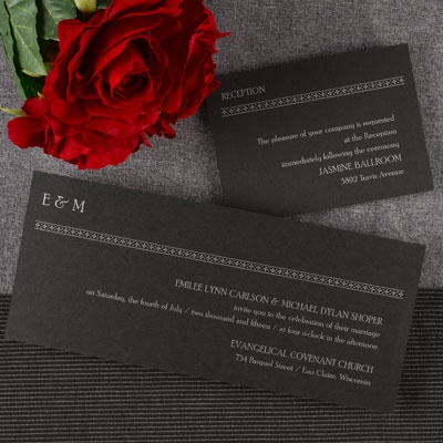 Enchanting Black With Line Border Design Wedding Invitations