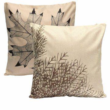 45X45cm Vintage Leaf Cotton Linen Cushion Cover Sofa Bed Home Decor Throw Pillow Case