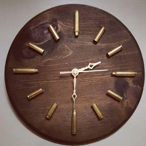 Dark Walnut Bullet Casing Clock Ammo Clock by kristascasingcrafts