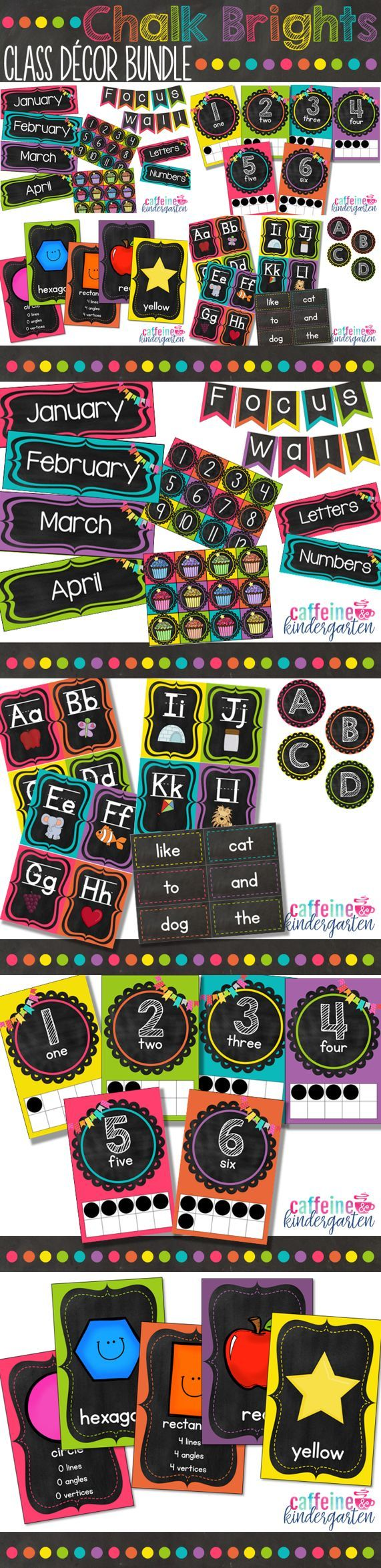 Classroom Decor Black : Chalkboard theme classroom decor bundle black and bright