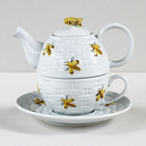 """The basket weave design on this Tea for One resembles a buzzing beehive adorned with yellow honey bees. The texture and fine details make it truly original. Complete your collection with other pieces from the collection, including a teapot, honey pot, creamer, caddy, mug, and covered infuser mug.DetailsMaterialPorcelainCapacity12 oz teapot, 8 oz cupDimensionsTeapot 7.25"""" W, Cup 4.25"""" W, Saucer 7.75"""" DiameterCare InstructionsDishwasher safe. Microwave safe.Country of OriginThailand"""
