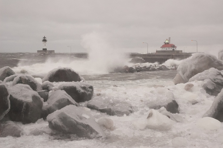 Waves off of Lake Superior crash onto the shore in Duluth
