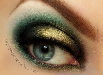 Smokey Green & Gold look with video tutorial - must look great with deep blue or red!