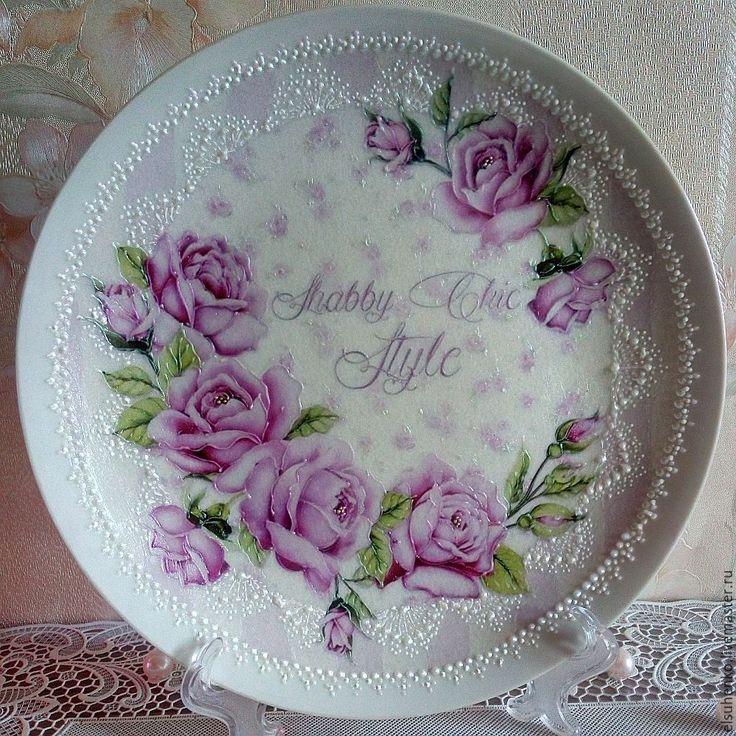 Купить или заказать Тарелка 'Нежные розы' в интернет-магазине на Ярмарке Мастеров.