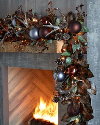 Pewter+&+Bronze+Pre-Lit+6\'+Christmas+Garland+at+Horchow.                                                                                                                                                                                 More