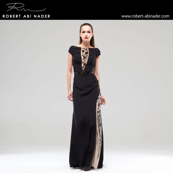 Robert Abi Nader - Ready to Wear - Spring Summer 2015 Long and belted straight dress in black Moroccan crepe and embroidered skin colored tulle. #robertabinader #black #fashion #skin #hair #glam #lebanon #style #model #heels #fashionista #paris #london #girls #design #attitude #stylish #love #TagsForLikes #todayimwearing #instastyle #springsummer