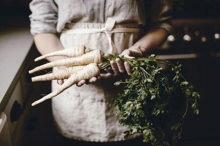 winter root vegetables / linen apron @heirloomed
