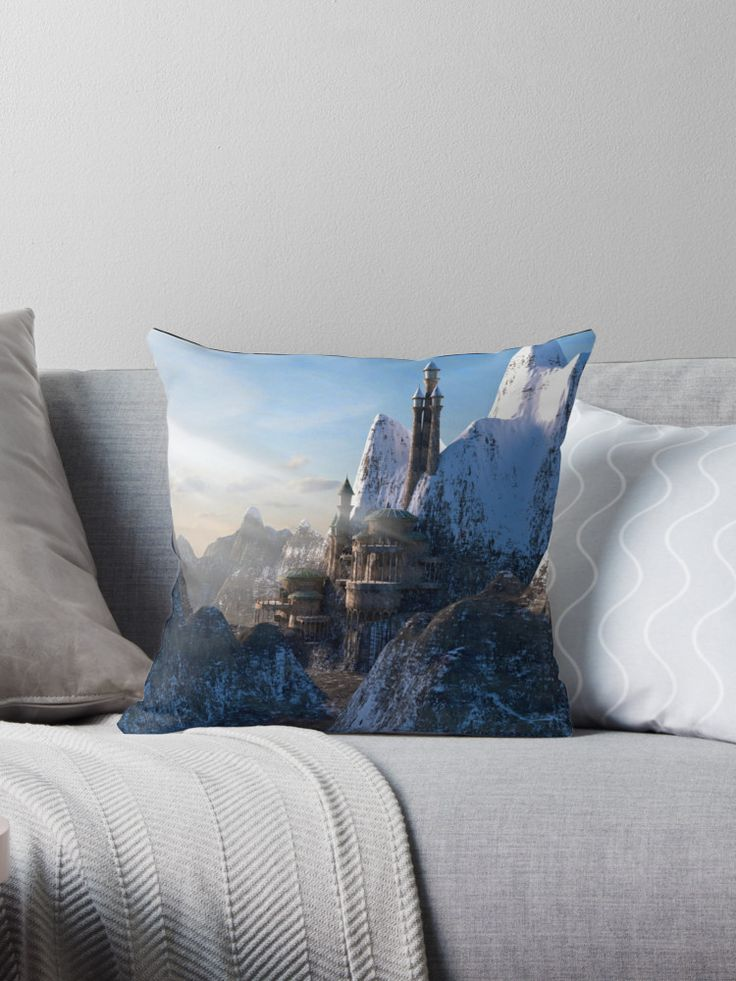 Fantasy Castle in the Mountains - Throw Pillow. #throwpillow #fantasycastle #homedecor #decorating #fairytaledecor