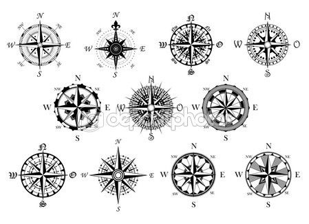 Antique compasses symbols set — Vecteur