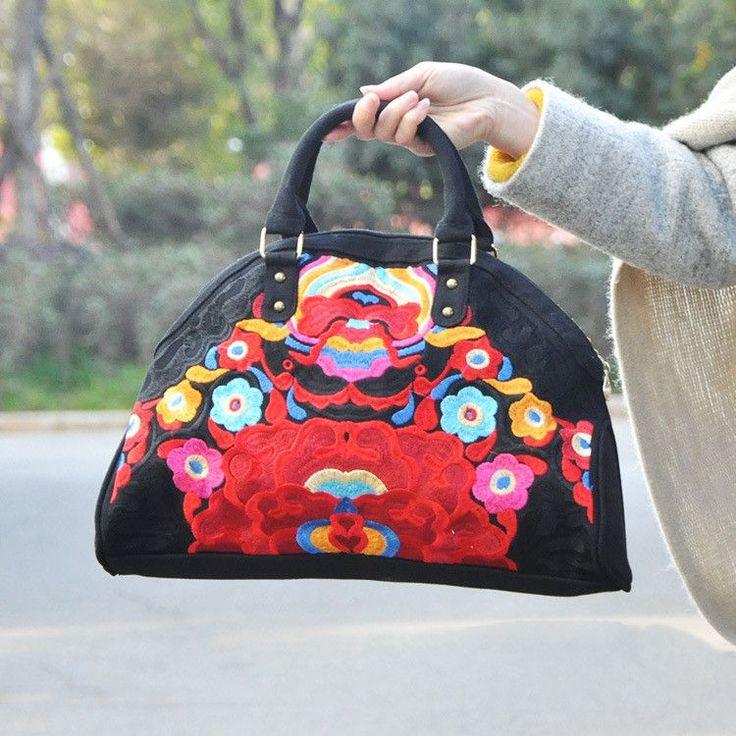 Handmade Floral embroidered cross-body Travel Handbag