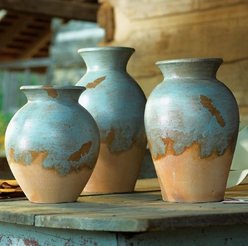 Decorating with Southwestern Colors   Turquoise Adobe Pots   Stylish Western Home Decorating