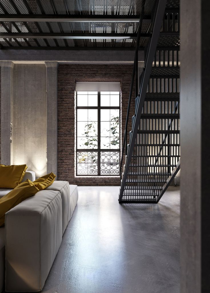 Unique Grate Style Treads Give This Staircase A Very Modern Industrial Look.