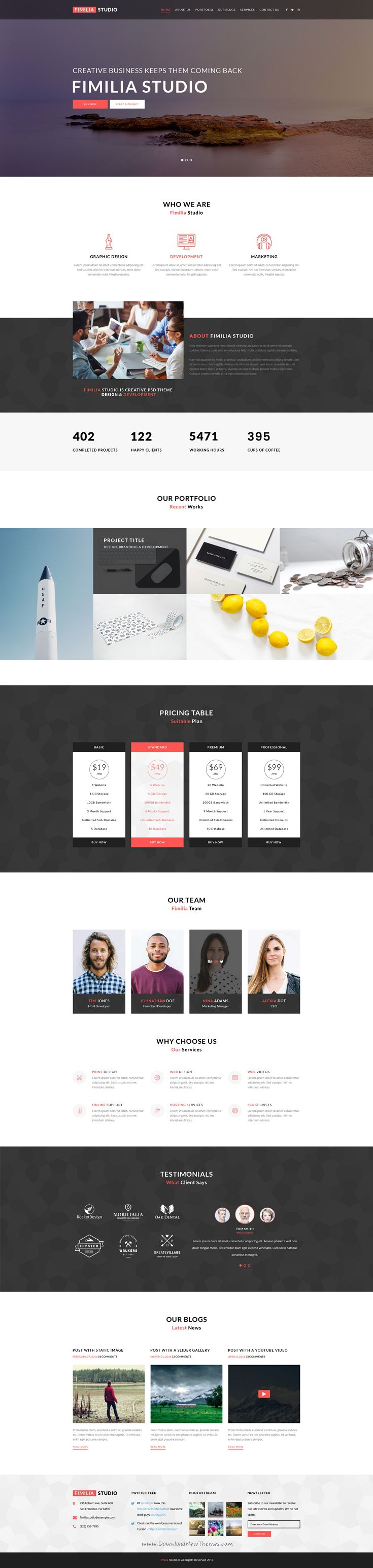 Fimilia Studio is modern multipurpose One Page #PSD #template for corporate business or personal #portfolio website. Download Now!