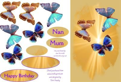 A very elegant card for mum,nan,or any one special, so pretty when made up.